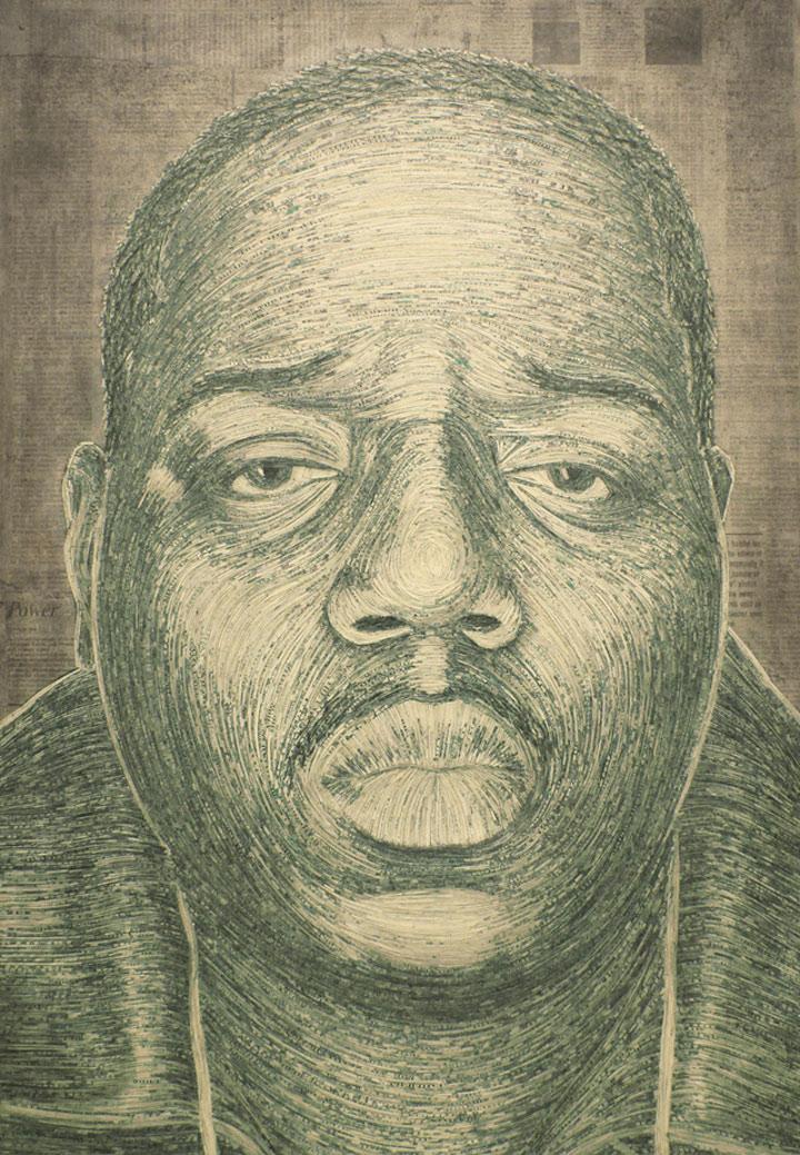 Portraits aus geschredderten Geldscheinen