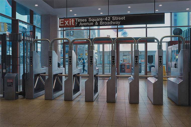 Realistisch gemalte U-Bahn-Stationen