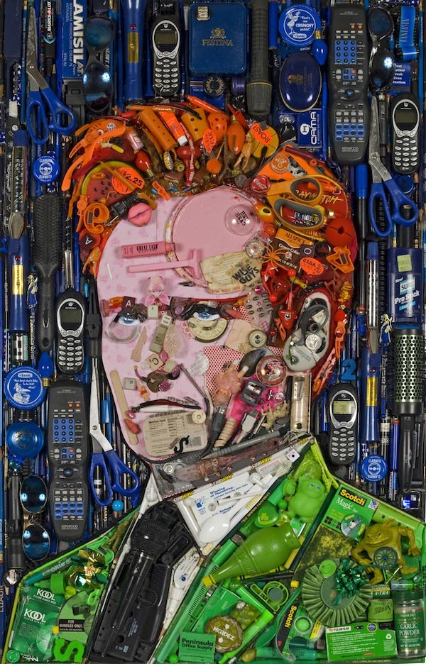 Promi-Portraits im Hausmüll-Mosaik
