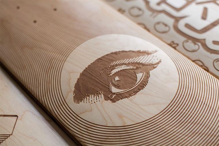 Lasergravierte Skateboard-Decks