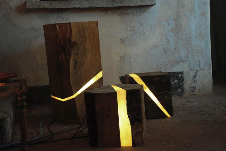 Light Design: Glühende Holzscheitkerben
