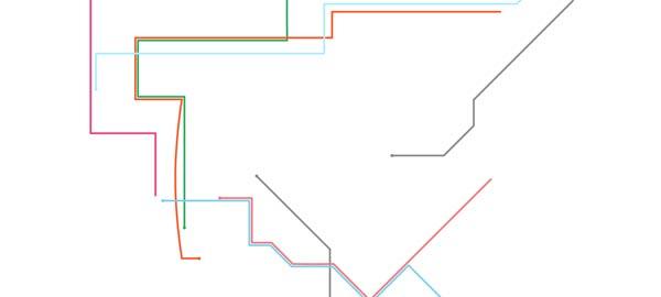 Abstrakte Musik-Animations-Interaktions-Kunst-Dings: New York Subway Map