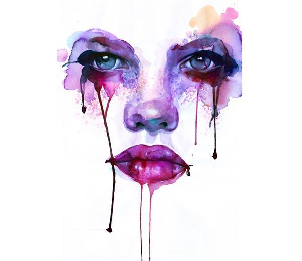 Wasserfarb-Gesichter