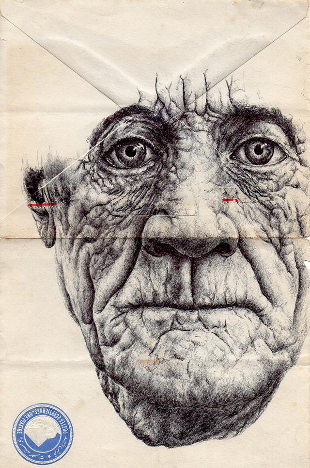 Portrait-Zeichnungen auf Briefumschlägen