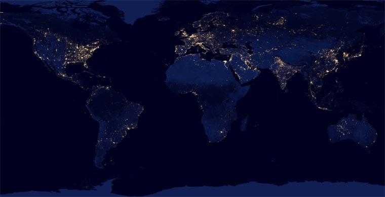 NASA: superdetaillierte Nachtbilder der Erde