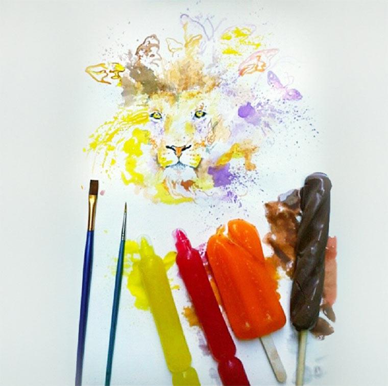 Gemälde aus Eiscreme