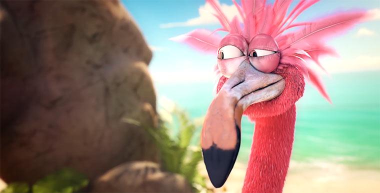 Ein Flamingo und seine Boombox