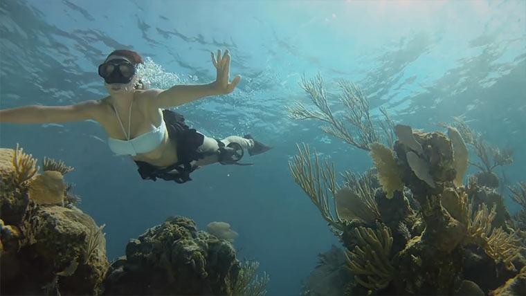 Mit GoPro und Haien unter Wasser