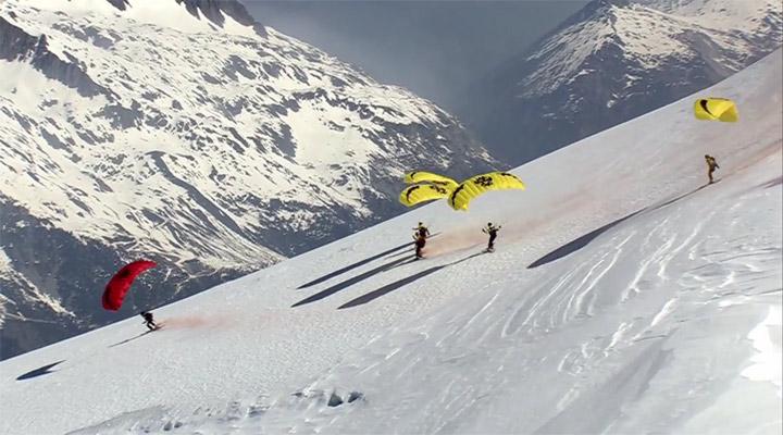 Alpengipfel-Abfahrtflug