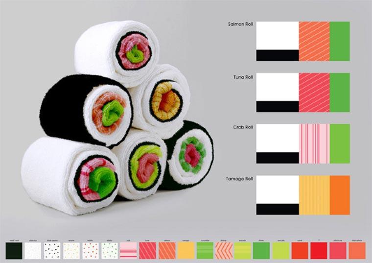 Handtücher als Sushi-Rollen Sushi-Towels_01