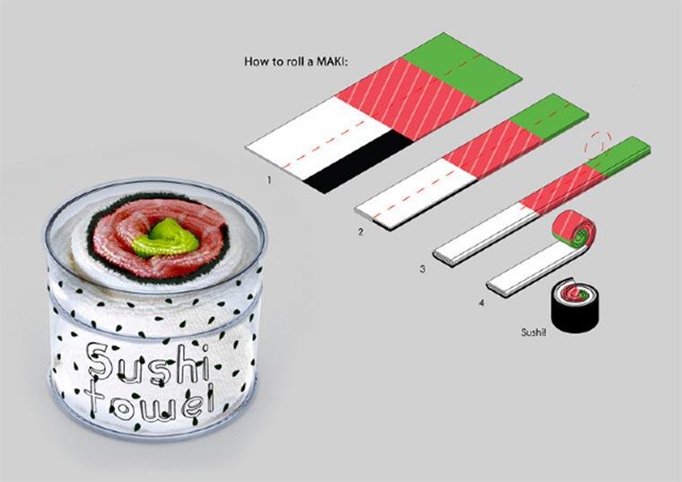 Handtücher als Sushi-Rollen Sushi-Towels_02