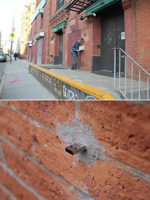 Street Art: Einzementierte USB-Ports