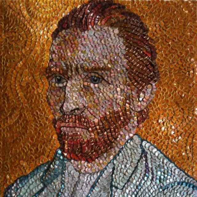 Kronkorken-Mosaik-Portraits