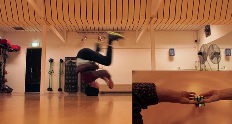 Rubikwürfel beim Breakdancen lösen breakdance-rubik