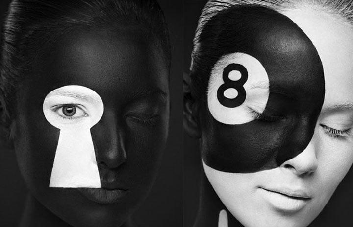 schwarzweiße Gesichtsillustrationen