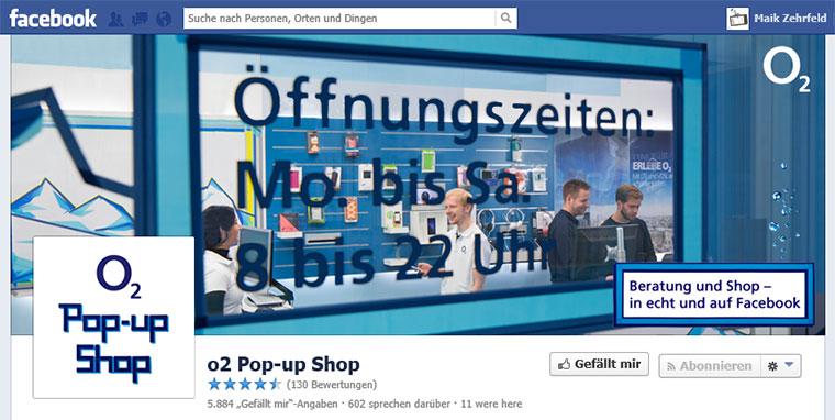 O2 bildet echten Store auf Facebook ab
