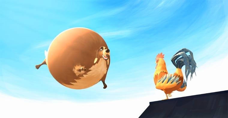Aufgeblasene Tiere fliegen in die Luft: Fat