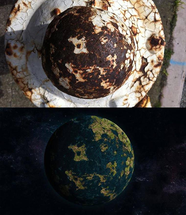 Planeten aus verrosteten Feuerhydranten