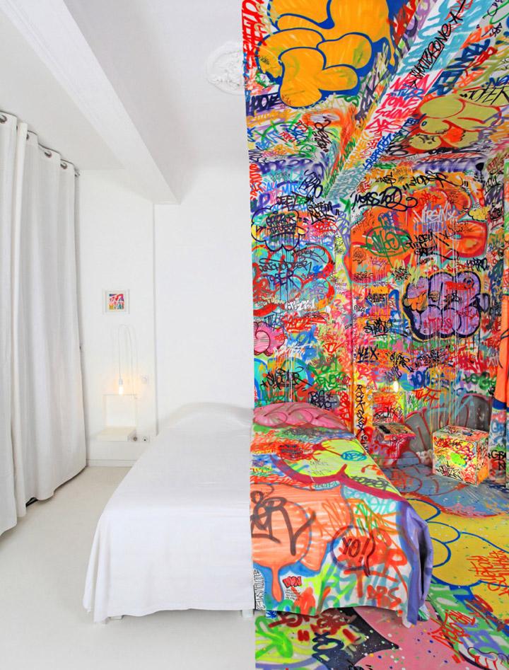 Halb Hotelzimmer – Halb Graffiti