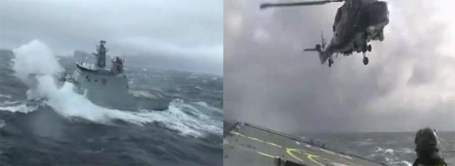 Hubschrauber vs. Seegang