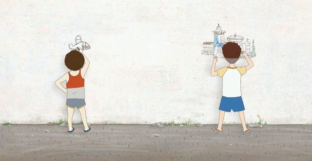 Krieg der kindlichen Wandzeichnungen
