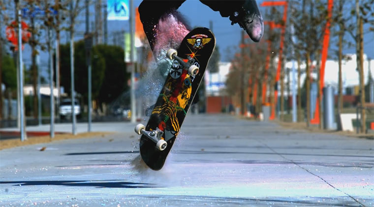 Kreide + Skateboard + Slowmotion = Awesome