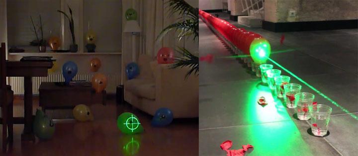 Ballons mit einem Laser zum Platzen bringen