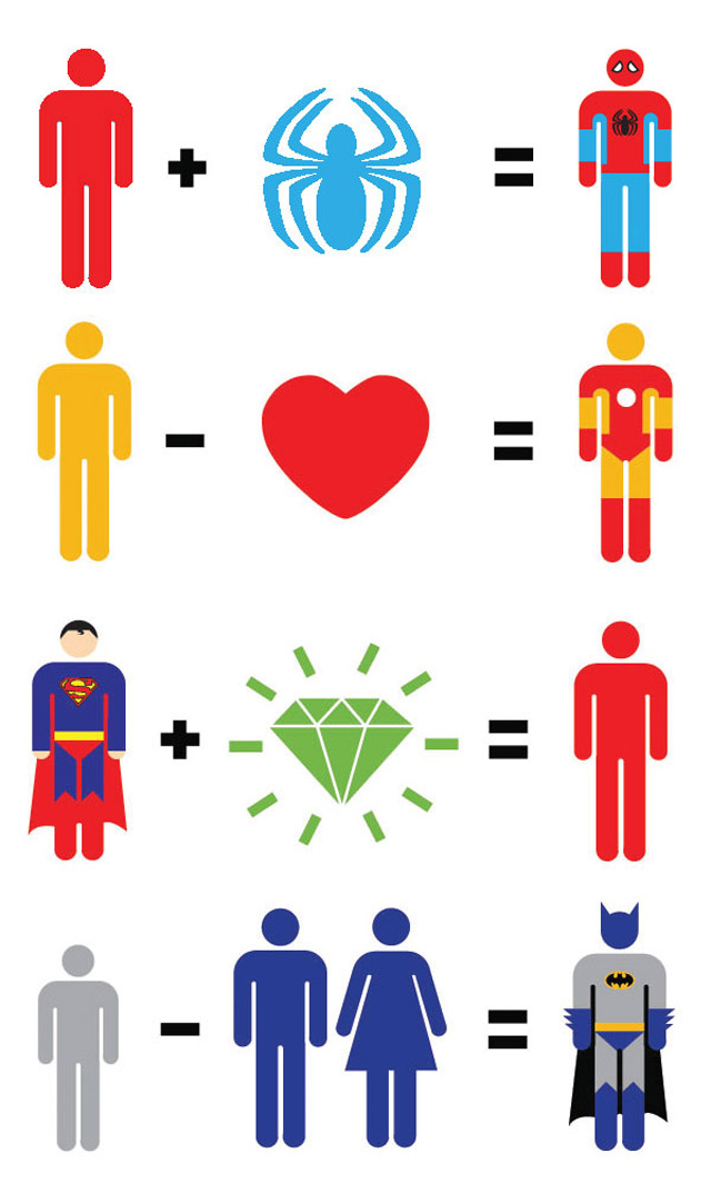 Illustration: Simplified movie heroes