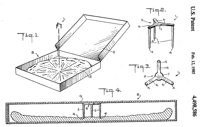 Patent: Pizzaschachtel-Stabilisations-Plastik-Dings