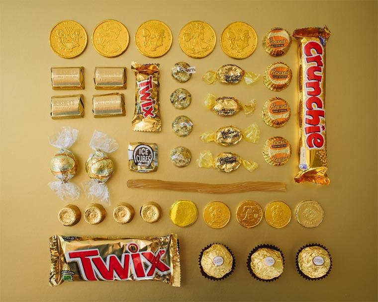 farbsortierte Süßigkeiten