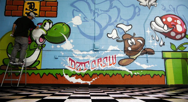 super mario graffiti room. Black Bedroom Furniture Sets. Home Design Ideas
