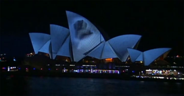 3D-Projektion auf dem Opernhaus in Sydney