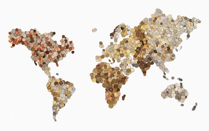 Weltkarten aus Währungen