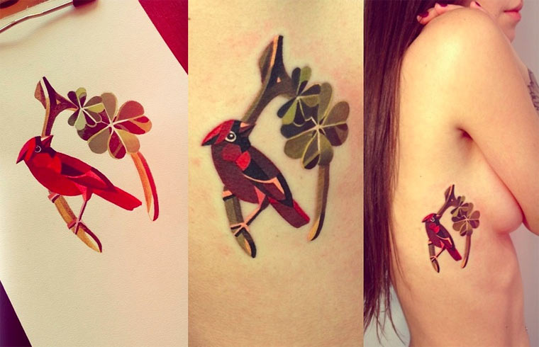 Tattoos im Wasserfarbenlook