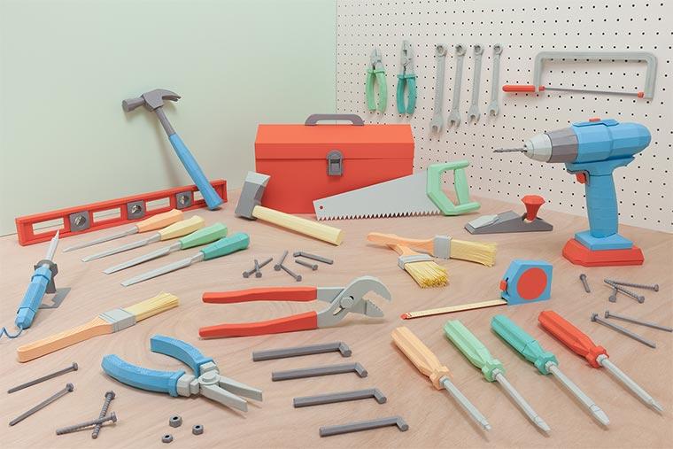 Kompletter Werkzeugkasten aus Papier Paper-Toolbox_01