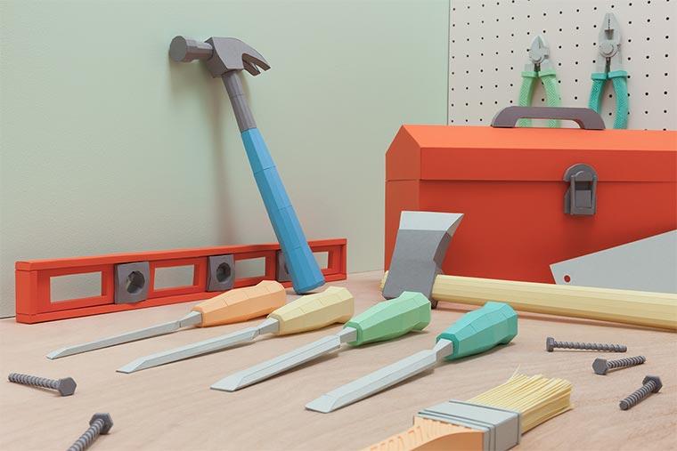 Kompletter Werkzeugkasten aus Papier Paper-Toolbox_02