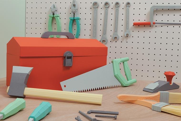 Kompletter Werkzeugkasten aus Papier Paper-Toolbox_04