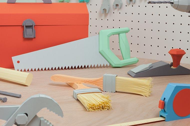 Kompletter Werkzeugkasten aus Papier Paper-Toolbox_05