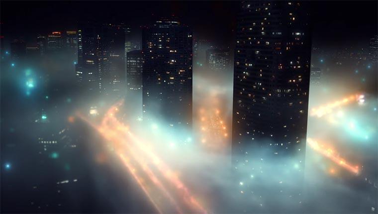 Tokio im Nebel versunken Tokyo-Fog