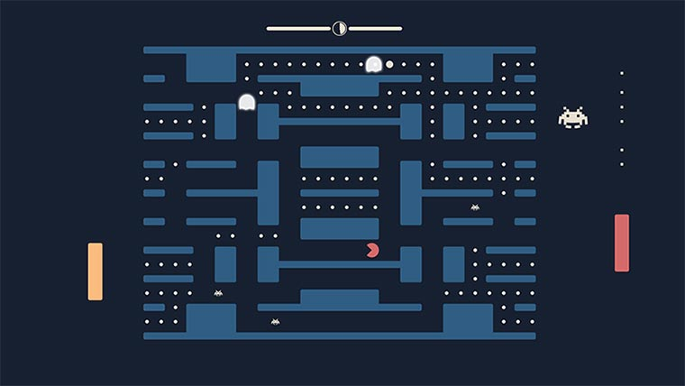 Pong + Pacman + Space Invaders gleichzeitig pacapong