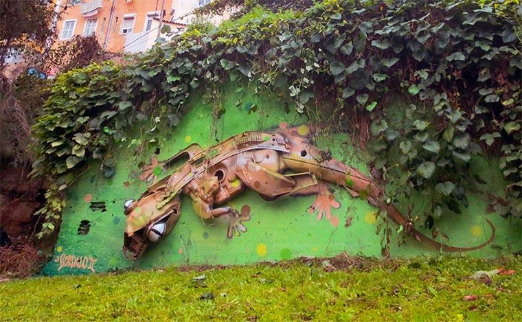 3D-Murals aus bemaltem Müll
