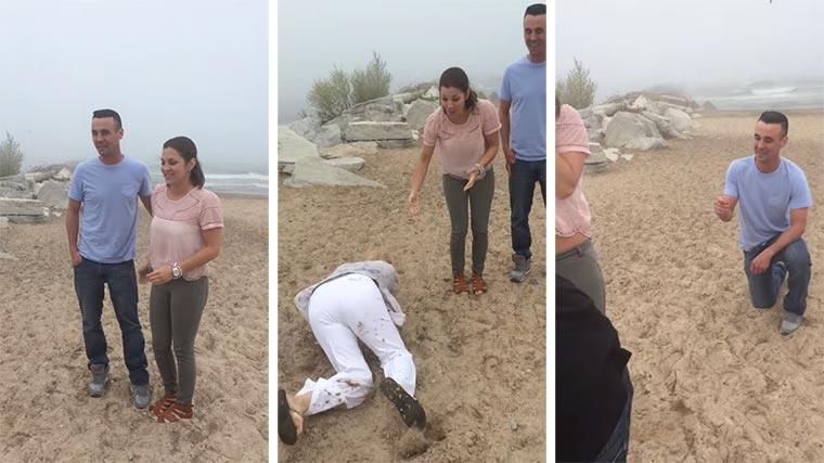 Mutter stolpert in den Antrag ihrer Tochter falling-proposal