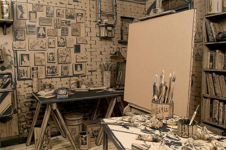 Künstler-Atelier aus Pappe Cardboard-Studio_01