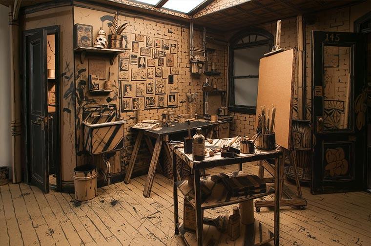 Künstler-Atelier aus Pappe Cardboard-Studio_02