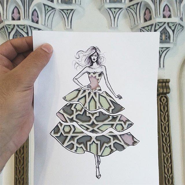 Kleid mit Schablone vor Hintergrund