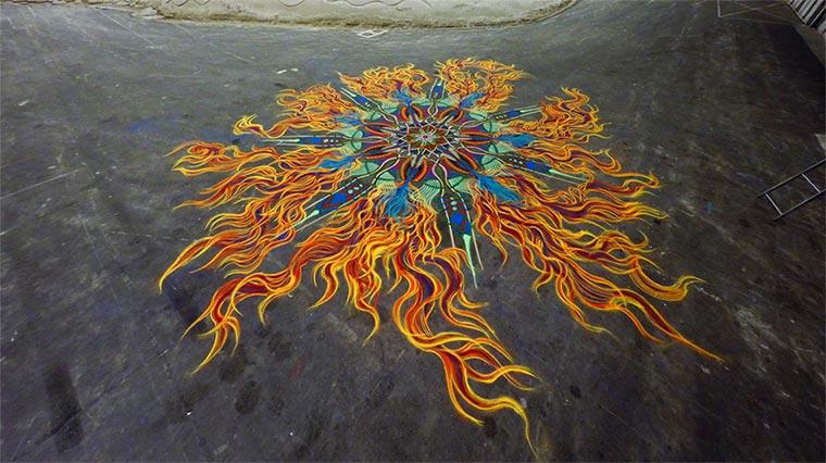 Kreative Sandmalerei im Zeitraffer