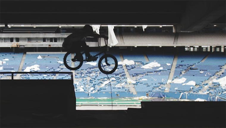 Mit dem BMX durchs Stadion