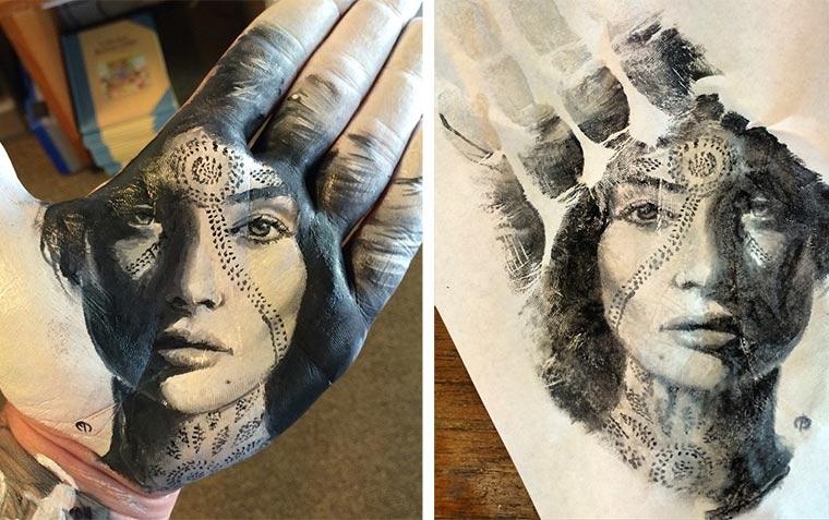 Handstempel-Malerei