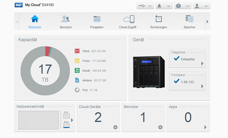 Western Digital My Cloud EX4100 im Test WD-MyCloud-Software_01