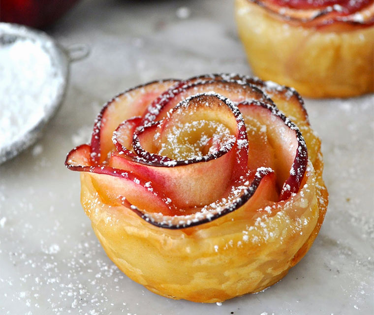Rezept: Apfel-Rosen-Küchlein